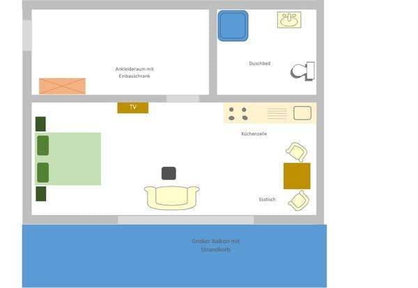Das App 1 verfügt über einen großen Balkon in Südrichtung