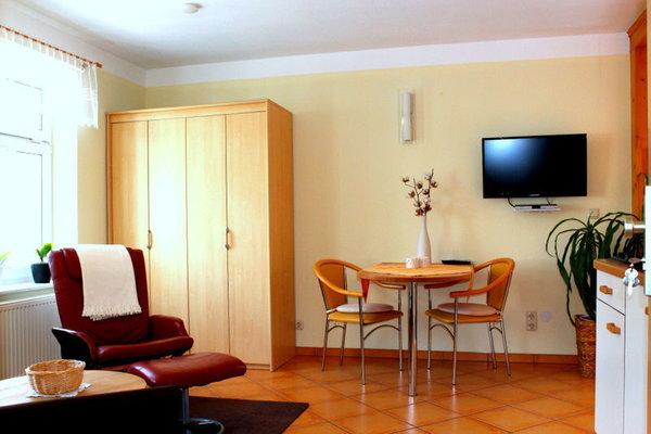Wohnraum mit bequemen Lesesessel & Flatscreen,WLAN steht kostenfrei zur Verfügung
