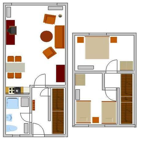 Der Grundriss: Die Möbel stehen so, wie eingezeichnet.