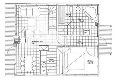 Erdgeschoss: Eingang rechst; Bad und ein Schlafzimmer (Doppelbett), Küche, Essecke und Wohnzimmer