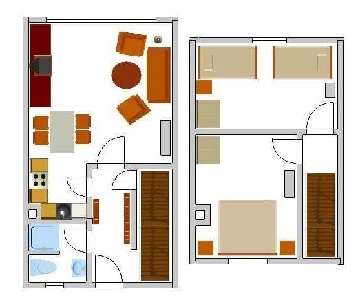 Dies ist der Grundriss unseres Ferienreihenhauses. Die Möbel stehen genauso, wie auf dem Grundriss eingezeichnet.