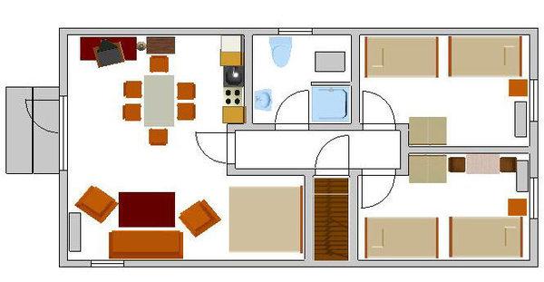 Das ist der Grundriß der Wohnung. Die Möbel stehen so, wie auf diesem Grundriss eingezeichnet.
