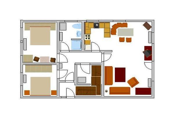 Dies ist der Grundriss der Wohnung. Die Möbel stehen so, wie in diesem Grundriss eingezeichnet.