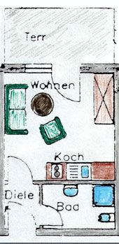 Grundriss der Ferienwohnung W04