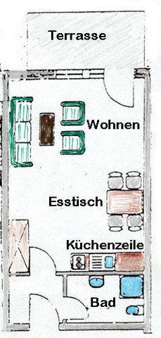 Grundriss der Wohnung W06 mit Terrasse