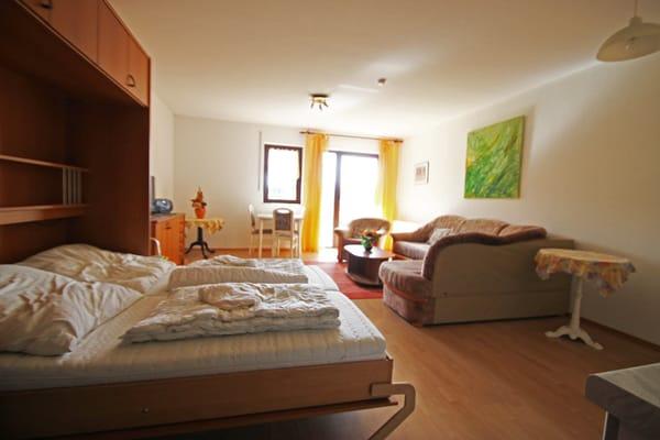 Der Wohnschlafraum mit Klappbett mit ausziehbarem Sofa im Hintergrund