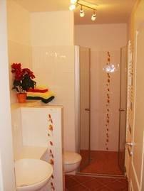 Bad mit sehr großer, ebenerdig gefliester Dusche