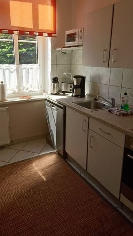 Küchenzeile mit Herd und Geschirrspülmaschine