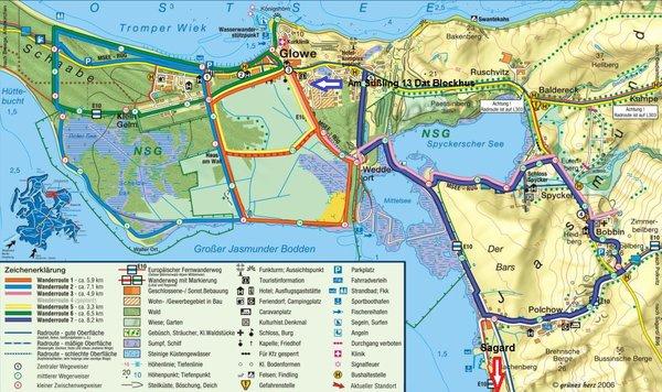 Karte Gemeinde Glowe mit Wander- und Fahrradwegen
