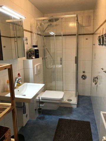 Im raumhoch gefliesten Bad befinden sich das WC, die grosse Dusche und der Waschtisch. Ein Fön befindet sich im Badschrank.