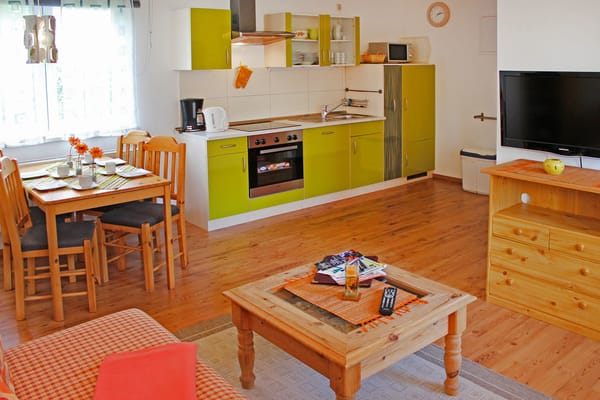 großräumigen Wohnraum mit Sitzlounge und Essraum ausgestattet mit einer Einbauküche
