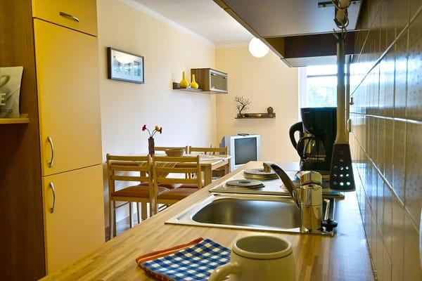 Küchenzeile mit Eherd/Backofen u. Kühlschrank
