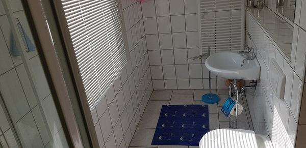Dusche mit WC und Handwaschbecken