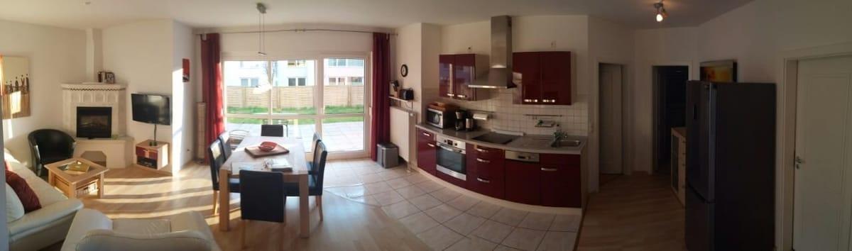 30 m² Wohnzimmer in seiner gesamten Ausdehnung