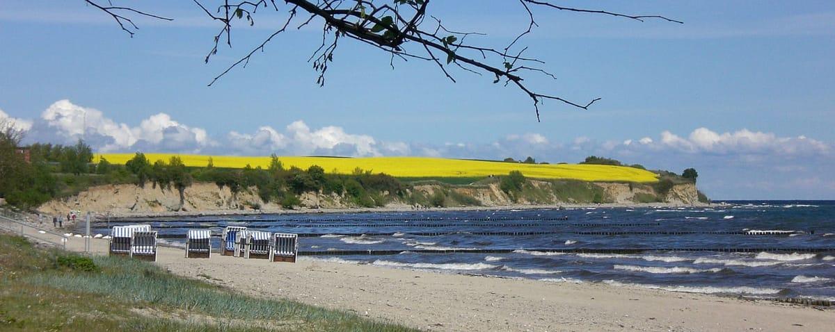 Unser Strand mit Blick auf die Steilküste