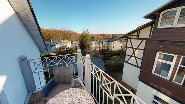 Blick vom Balkon bis zum Achterwasser