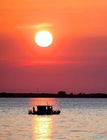 Sonnenuntergang über dem Achterwasser