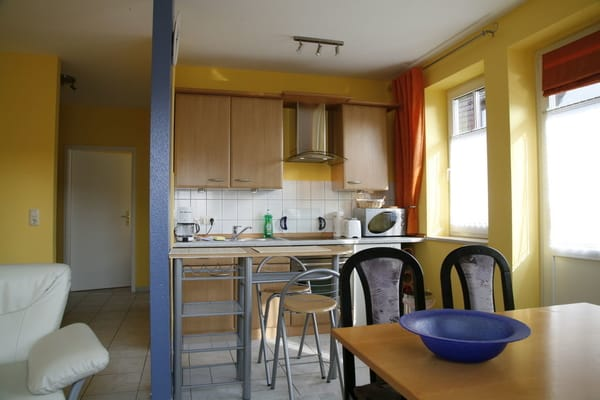 Küchenbereich mit Esstresen, Geschirrspüler, Ceran Kochfeld, Backofen, komplette Ausstattung.