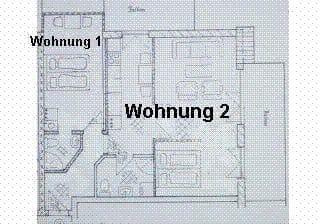 Grundriss Wohnung 1 + 2 - beide zusammen ideal zur 4-Personen-Belegung