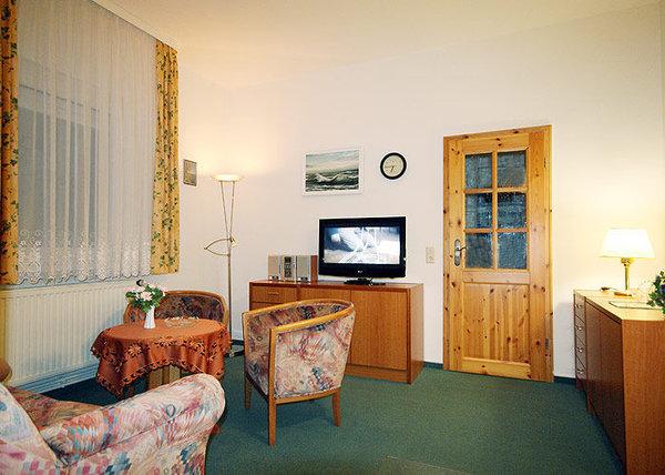 Wohnzimmer mit ausziehbarer Schlafcouch und Flat-TV
