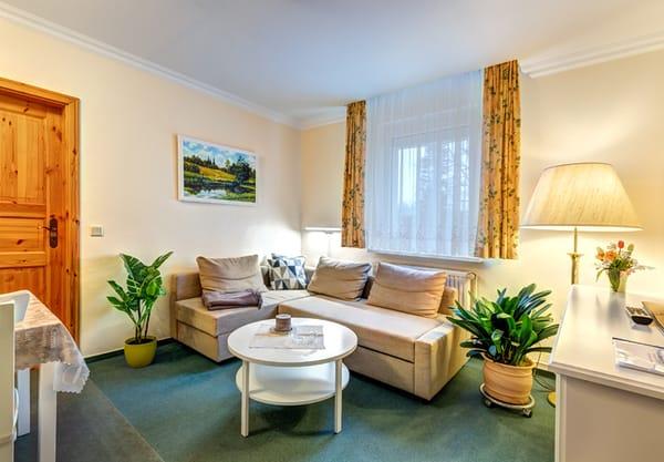 Wohnzimmer mit Flat-TV, W-LAN und Stereoanlage