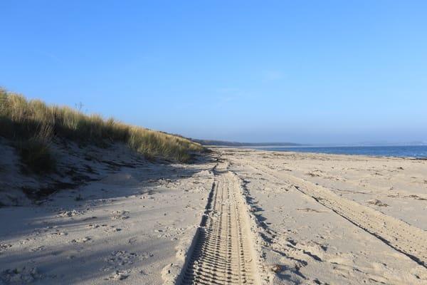 der Hunde- und FKK Strand Blick Richtung Lobbe