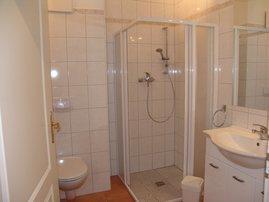 das große Badezimmer mit bodentiefer Dusche