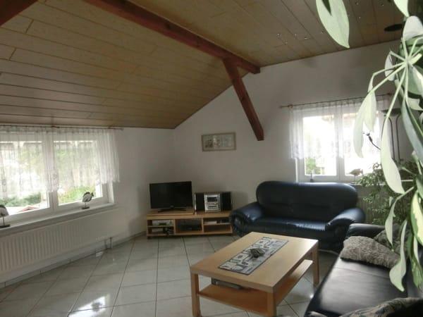 Wohnzimmer mit Flachbildschirm, Radioanlage, DVD-Player und Videorecorder sowie W-LAN