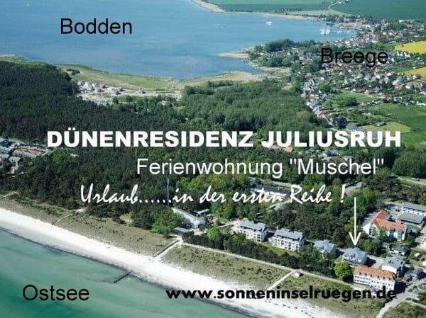 Luftbild von der Ferienwohnung Muschel