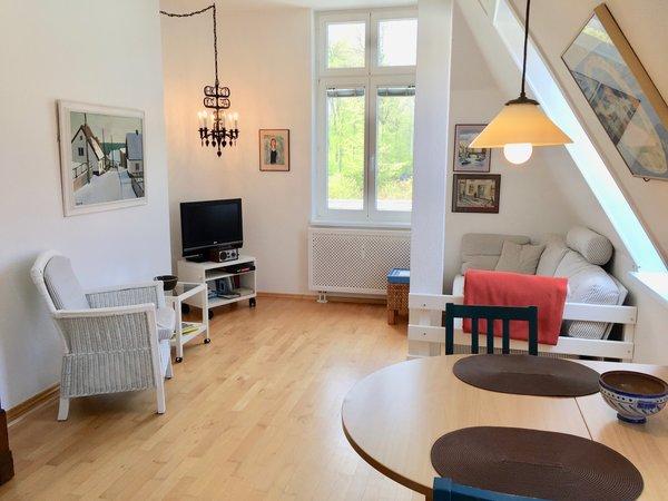 Wohnbereich mit Fenster nach Süden und seitlichem Dachfenster, ein sehr heller Wohnraum!