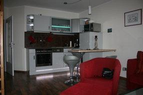 Moderne Küche mit Ceranfeld, Backofen,Kühlschrank mit Gefrierfach,Geschirrspüler,Mikrowelle und allen gängigen Haushaltsgeräten