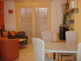 Wohnraum mit Schlafcouch und Eßplatz