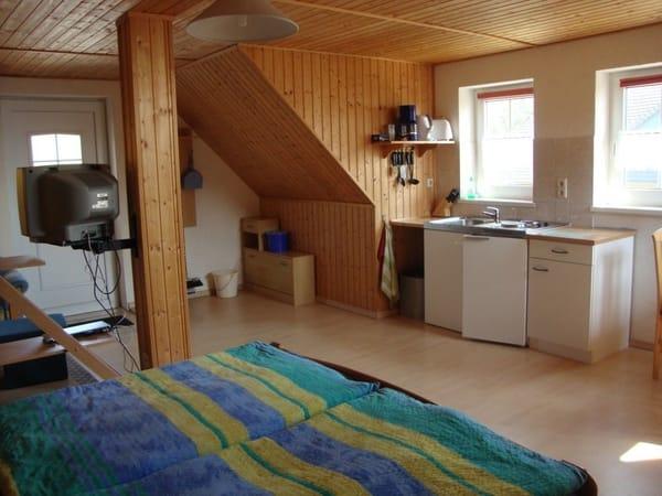 Kombinierter Wohn- und Schlafbereich, Küchenzeile
