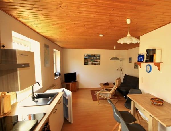 Küchenzeile, Wohnbereich mit ausziehbarer Couch