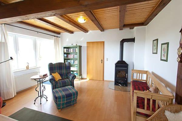 ...oder unsere kleine Bibliothek am Kamin geniessen. Kaminholz gibt`s auf Rügen in jedem Baumarkt. Der nächste TOOM ist in Bergen 8 km entfernt.