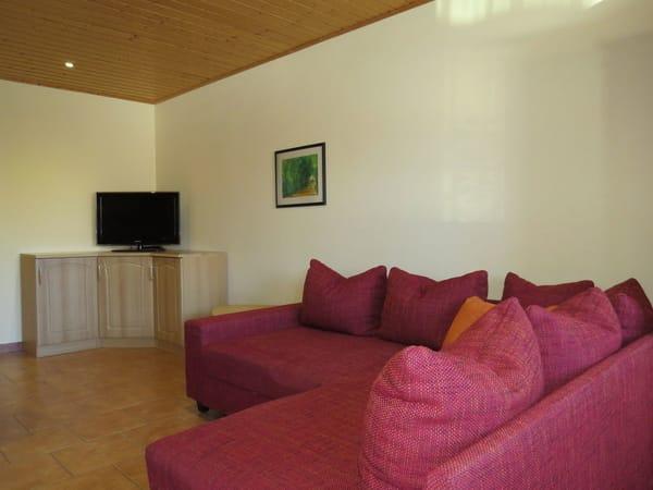 Sofa mit Schlaffunktion und TV-Ecke