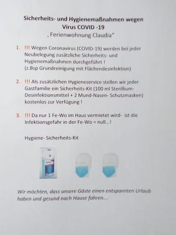 Corona - Hygienemaßnahmen in der Fe-Wo