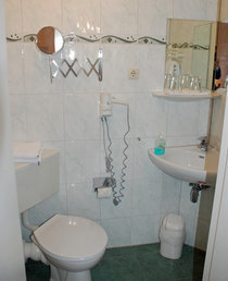 Badezimmer mit Dusche, WC, Handtuchwärmer, Fön, Kosmetikspiegel