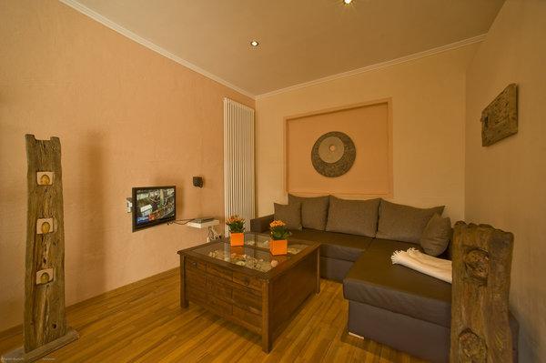 Wohnbereich mit gemütlicher Schlafcouch, SAT-TV, LCD-Fernseher mit integriertem DVD-Player, Radio/CD