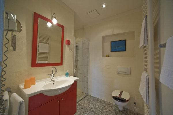 Bad mit Waschplatz, ebenerdiger Dusche, WC, Handtuchwärmer, Fön, Kosmetikspiegel