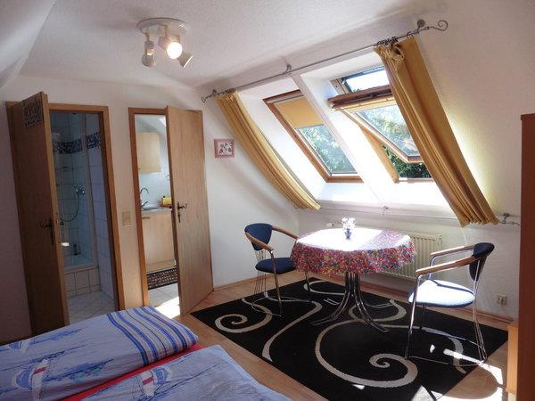 komb. Wohn- und Schlafraum, 2 gr. Dachfenster in westl. Richtung