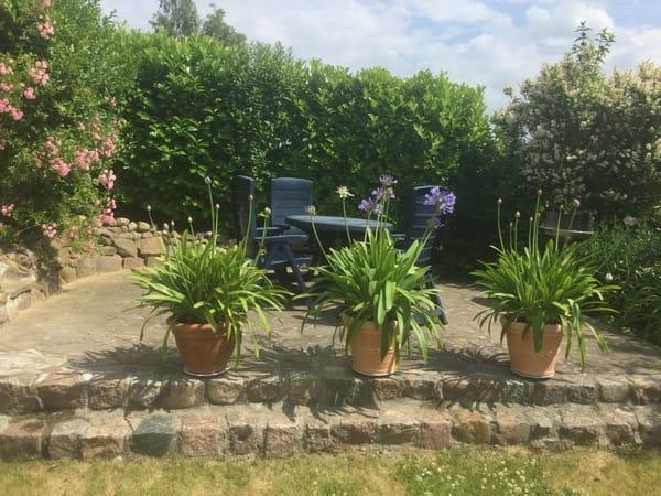 Terrasse im Garten mit Grill