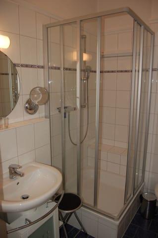 Bad mit Dusche, WC, Föhn, Schminkspiegel