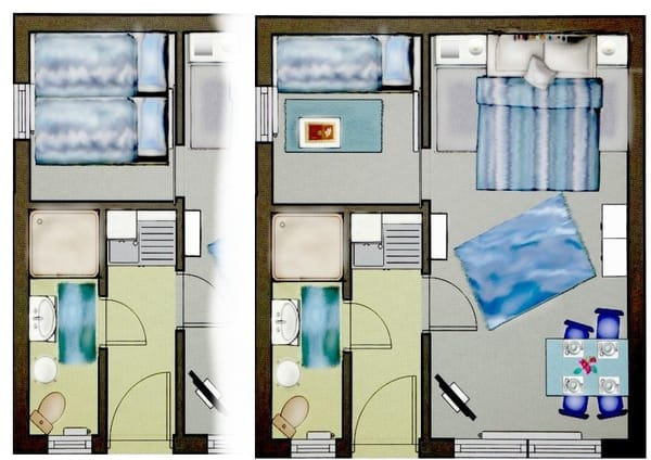 Grundrisse, einmal kleines Zimmer mit ausgezogenem Bett und einmal nur ein Bett