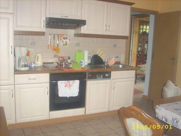 Küche mit E-Herd, Spühlmaschine, Kühlmöglichkeit und Mikrowelle