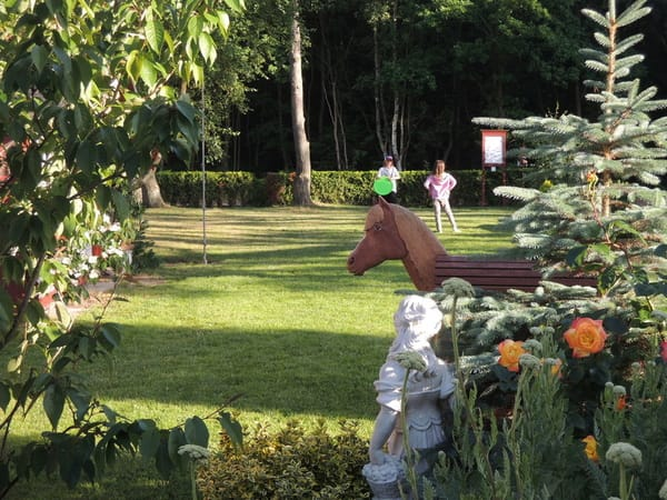 Garten vor dem Haus zum Wald und Langseer Weg hin