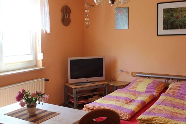 kombinierter Wohn- und Schlafraum mit Fernseher und Radio