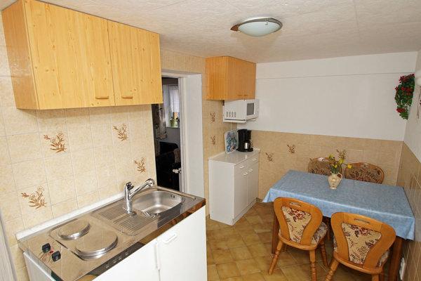 Die Küche im Eingangsbereich - u.a. 2 Kochplatte, Kühlschrank, Mikrowelle, Wasserkocher, Kaffeemaschine, Toaster