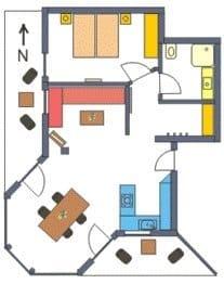 Wohnungsgrundriss mit Süd und Westbalkon.