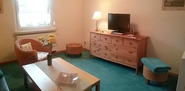 Wohnzimmer mit Sat-TV, DVD-Player, Sesseln u. Couchtisch
